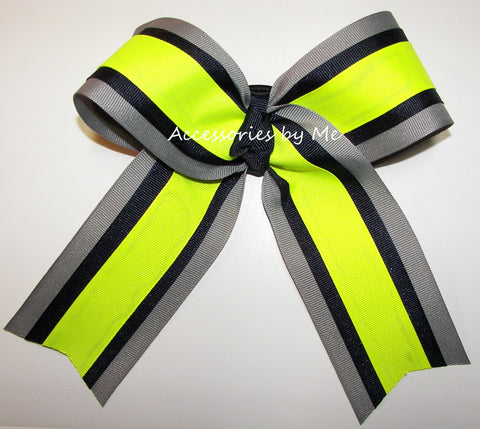 Navy Blue Neon Yellow Gray Ponytail Holder Bow