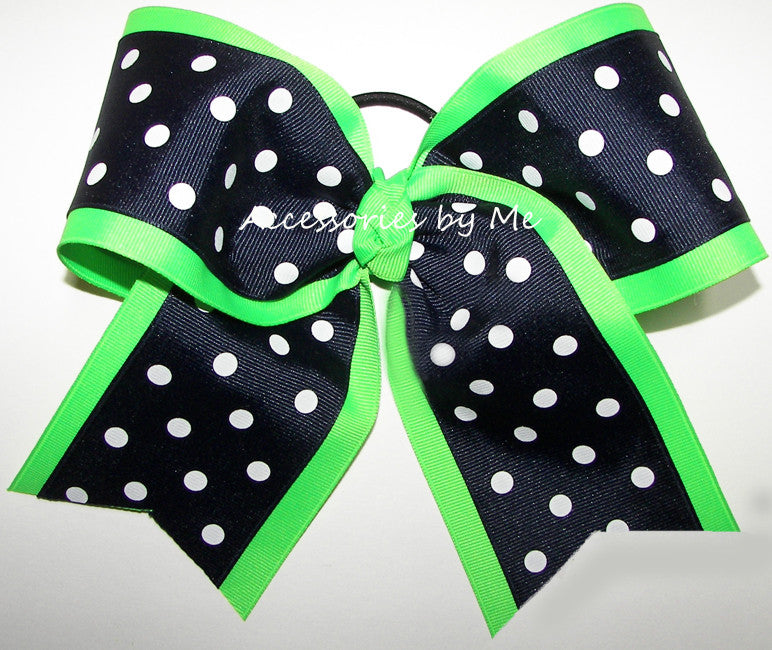 Navy Neon Green Polka Dot Big Cheer Bow