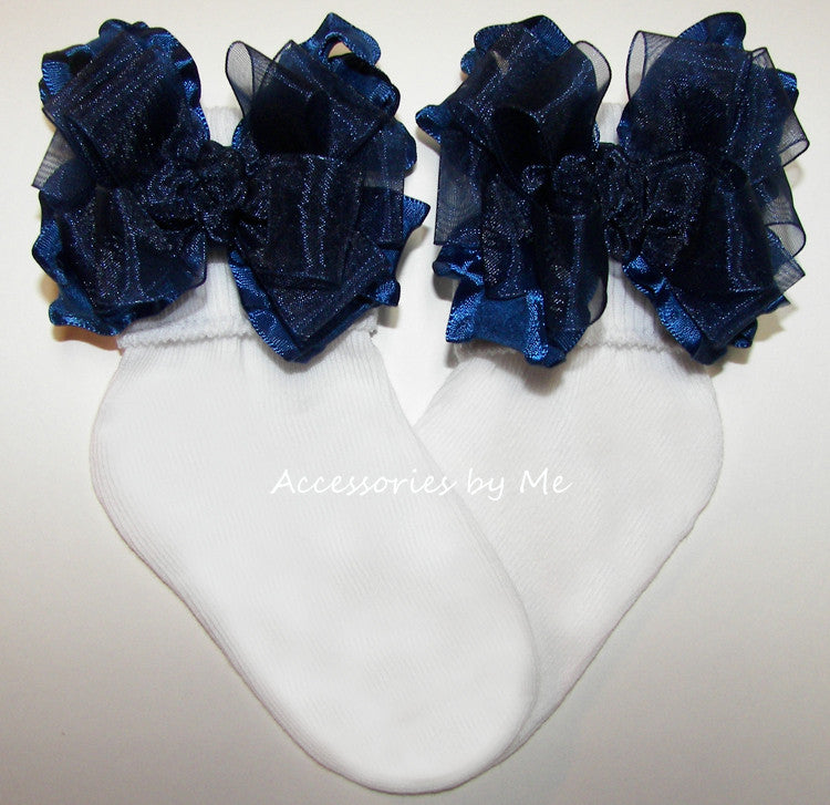 Navy Blue Organza Ruffle Bow Socks - Accessories by Me
