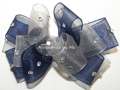 Glitzy Navy Blue Silver Organza Hair Bow