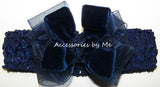 Fancy Navy Velvet Organza Bow Headband - Accessories by Me