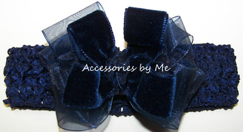 Fancy Navy Velvet Organza Bow Headband