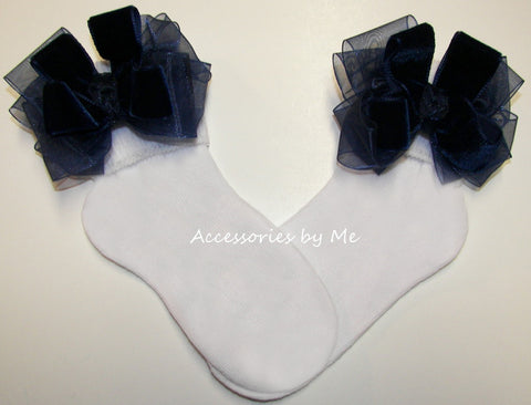 Navy Velvet Organza Bow Socks