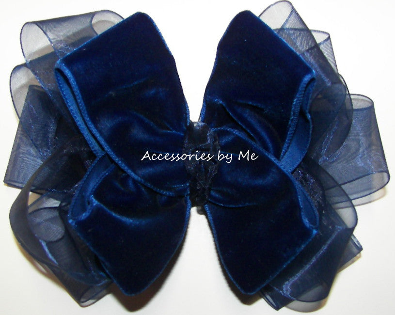 Navy Blue Velvet Organza Hair Bow - Accessories by Me