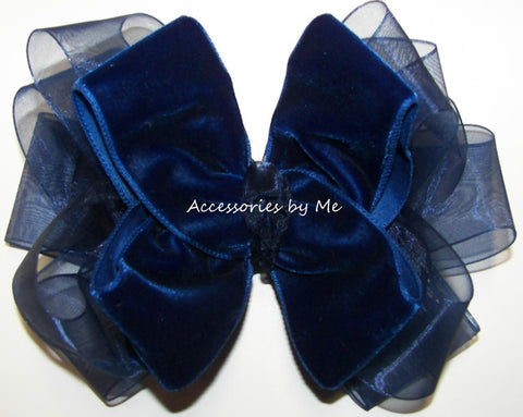 Navy Blue Velvet Organza Hair Bow
