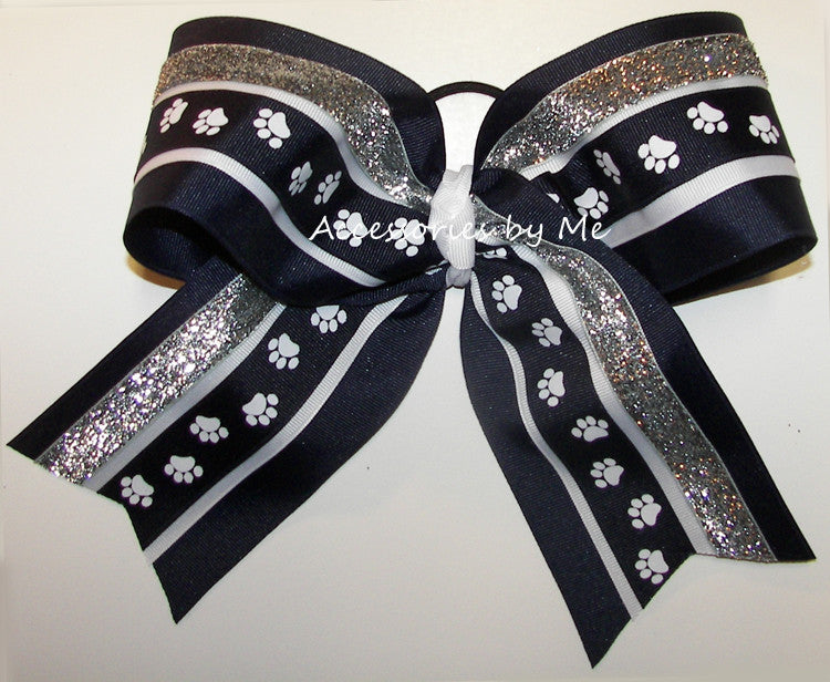 Paw Print Navy Blue White Silver Glitter Ribbon Big Cheer Bow - Accessories by Me