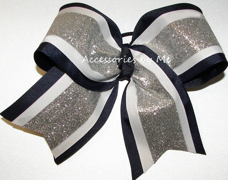 Sparkly Navy Blue White Silver Big Cheer Bow