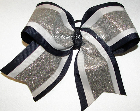 Sparkly Navy Silver White Big Cheer Bow