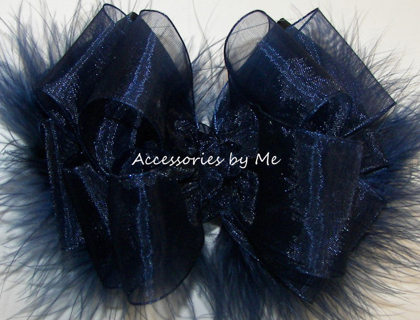 Frilly Navy Blue Organza Marabou Hair Bow - Accessories by Me