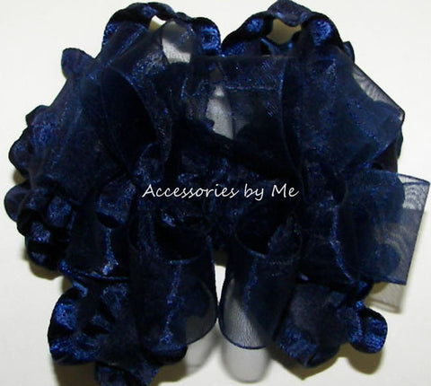 Frilly Navy Blue Organza Ruffle Hair Bow