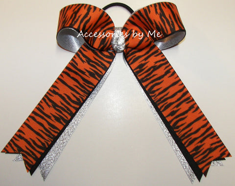 Tigers Orange Black Ponytail Holder Bow