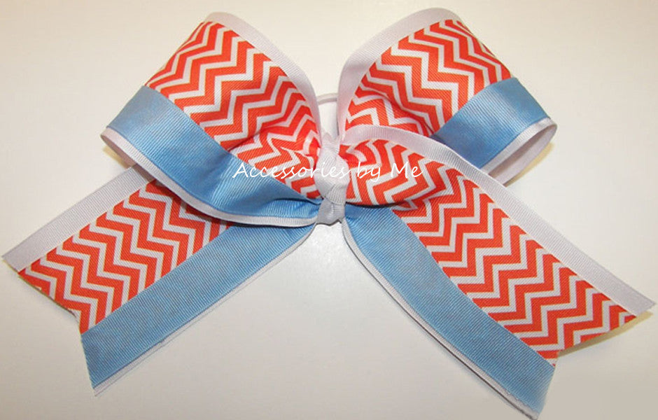 Chevron Orange White Blue Big Cheer Bow or Sports Ribbon - Accessories by Me