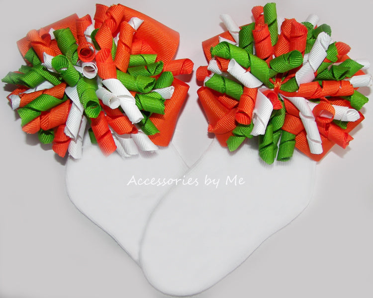 Orange Green White Korker Bow Socks