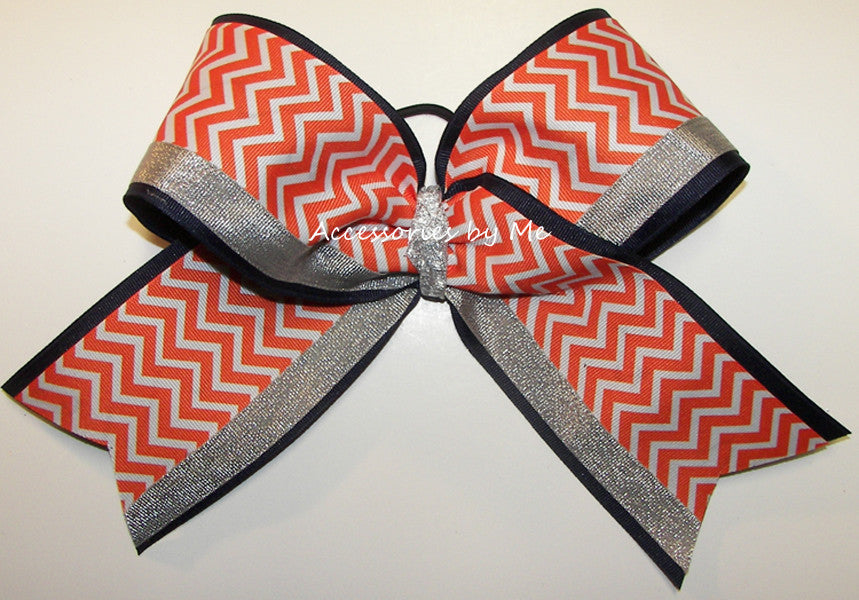 Chevron Orange Navy Big Cheer Bow - Accessories by Me