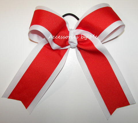 Wholesale Orange White Ponytail Cheer Bow