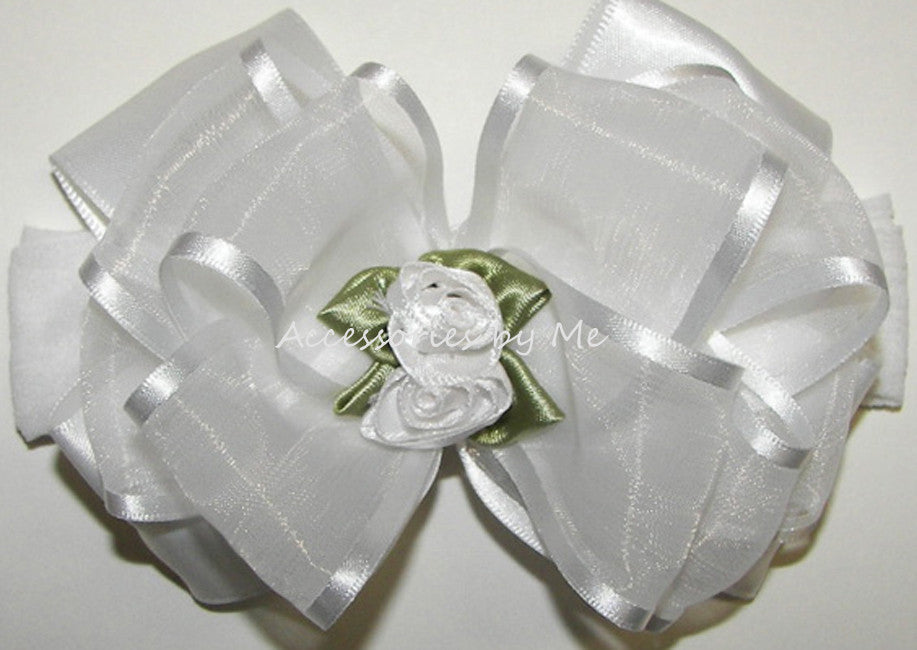 Frilly White Organza Floral Bow Nylon Headband - Accessories by Me
