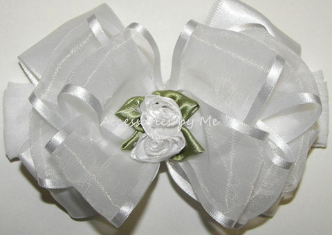 Frilly White Organza Floral Bow Nylon Headband