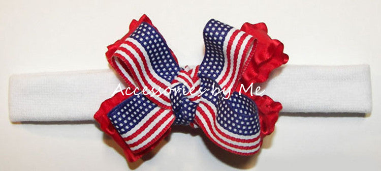 Patriotic USA Flag Ruffle Bow Headband - Accessories by Me