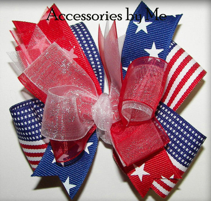 Patriotic Red White Blue Stars & Stripes Flag Hair Bow - Accessories by Me