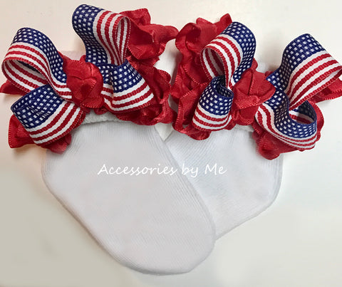 Patriotic US Flag Ruffle Bow Socks