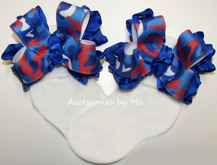 Patriotic Camo Red White Blue Ruffle Bow Socks - Accessories by Me