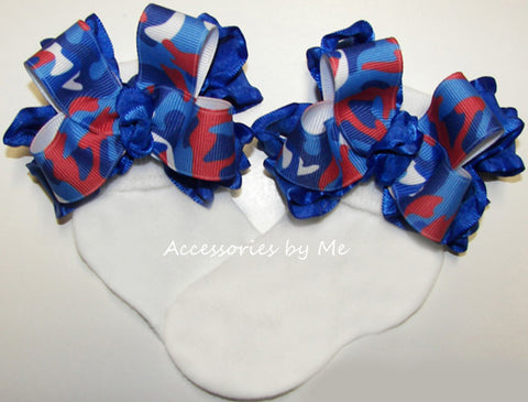 Patriotic Camo Red White Blue Ruffle Bow Socks