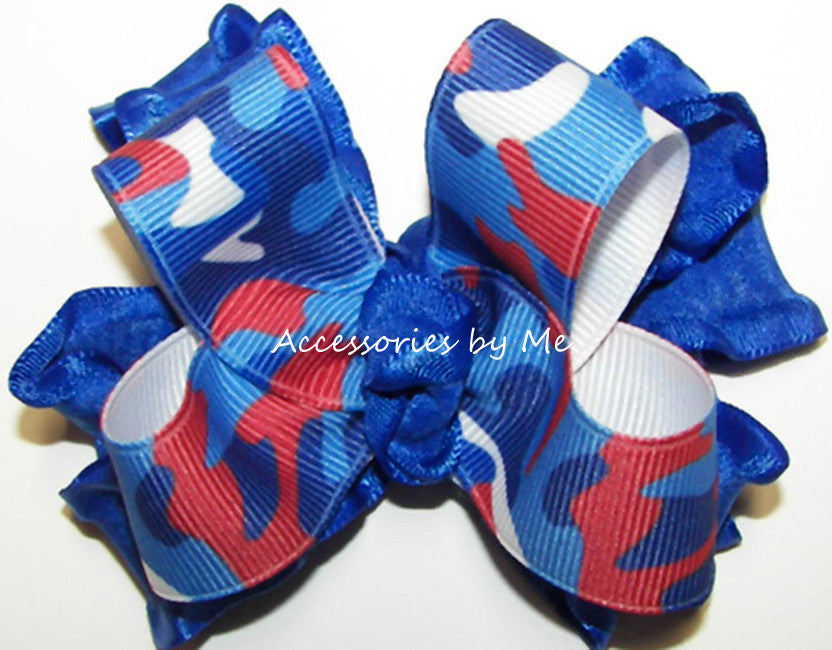 Patriotic Camo Red White Blue Ruffle Hair Bow