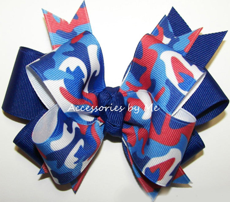 Patriotic Camo Red White Blue Funky Hair Bow - Accessories by Me