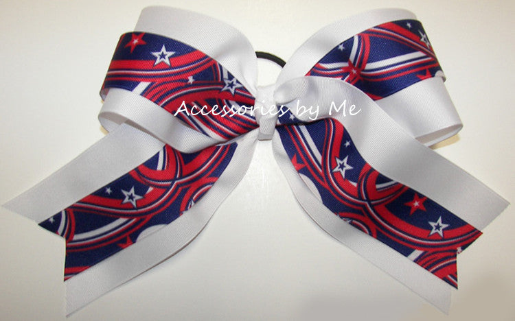 Patriotic Stars Big Cheer Bow - Accessories by Me