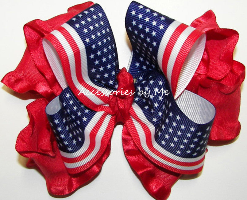Frilly Patriotic Red White Blue USA Flag Ruffle Hair Bow - Accessories by Me