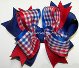 Patriotic Red White Blue Plaid Funky Hair Bow - Accessories by Me