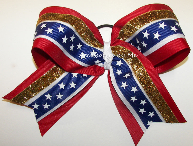 Patriotic Red White Blue Gold Glitter Ribbon Big Cheer Bow - Accessories by Me