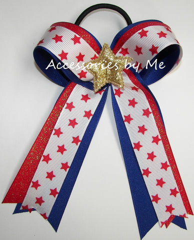 Patriotic Stars Red Blue Ponytail Bow