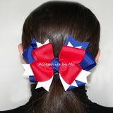 Red White Blue Ponytail Bow