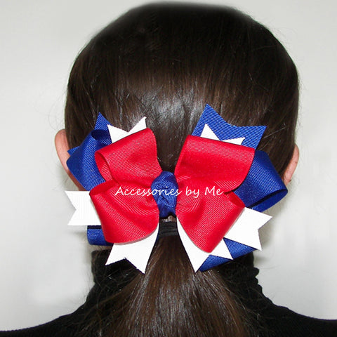 Patriotic Red White Blue Ponytail Holder Bow