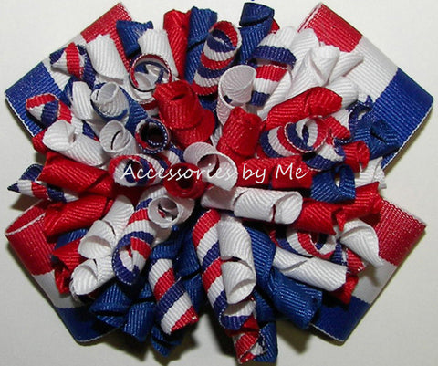Patriotic Korkers Red White Royal Blue Hair Bow