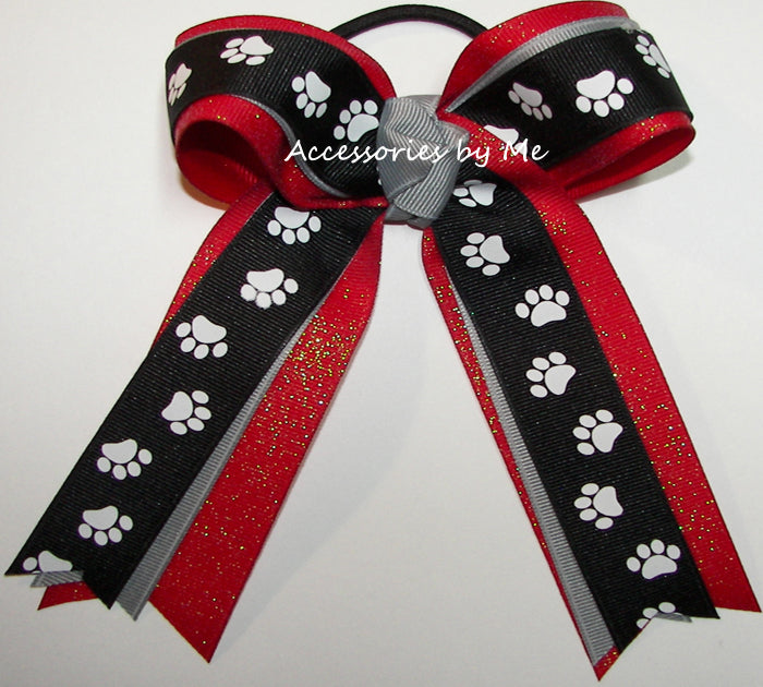 Paw Print Black Red Glitter Ponytail Bow