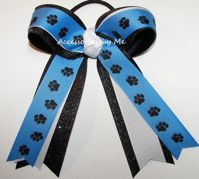 Carolina Blue Black Paw Print Ponytail Bow