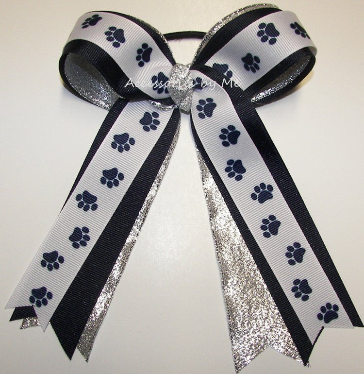 Paw Print Navy Blue White Silver Ponytail Bow