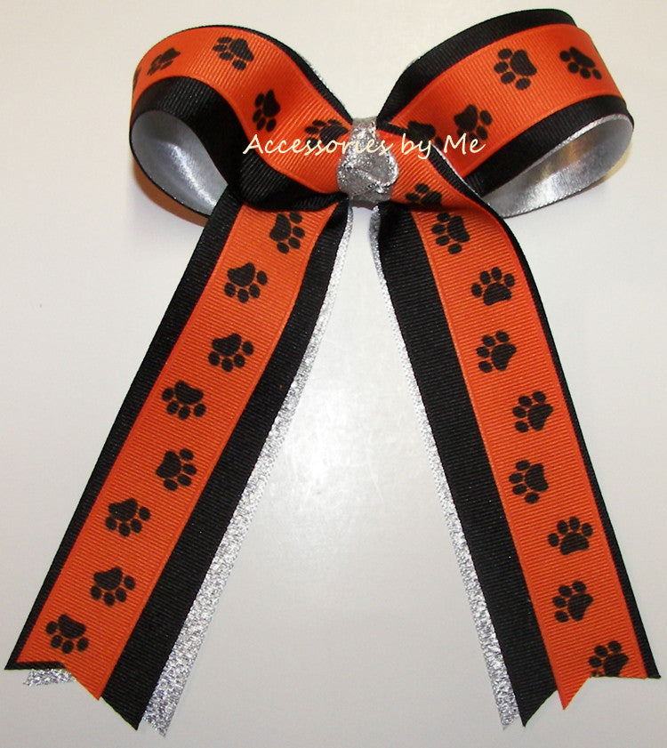 Paw Print Orange Black Silver Ponytail Holder Bow - Accessories by Me