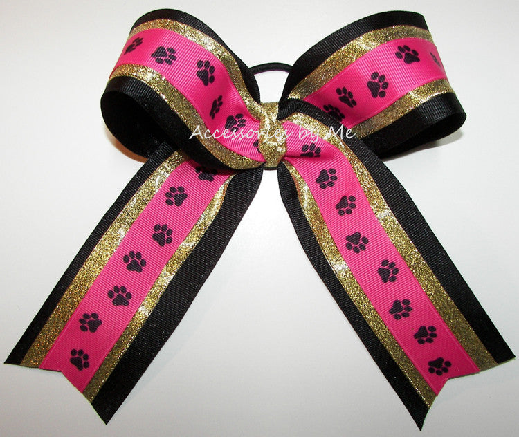 Paw Print Pink Gold Black Ponytail Holder Bow - Accessories by Me