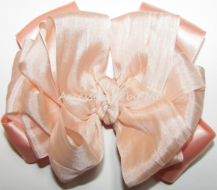 Fancy Peach Silk Satin Ribbon Hair Bow - Accessories by Me