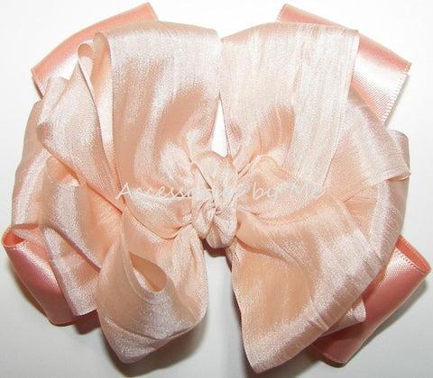Fancy Peach Silk Satin Ribbon Hair Bow