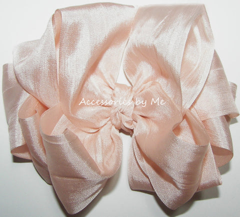 Fancy Blush Pink Silk Ribbon Hair Bow