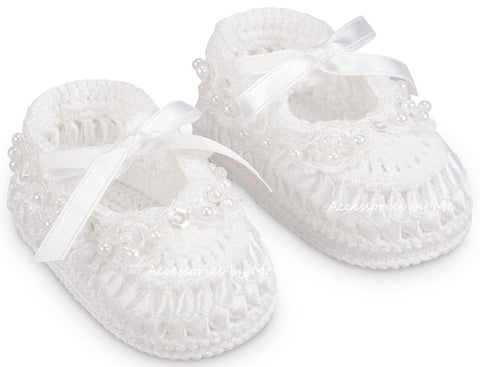 Christening White Pearl Bootie Shoe