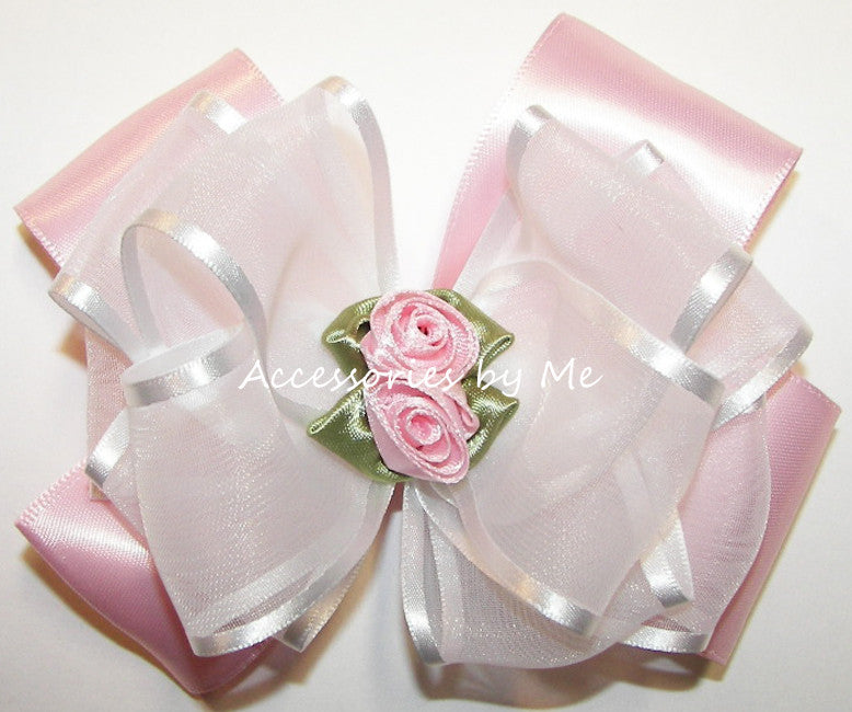 Fancy Pink White Organza Satin Floral Hair Bow - Accessories by Me