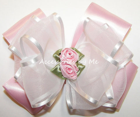 Pink White Organza Satin Floral Hair Bow