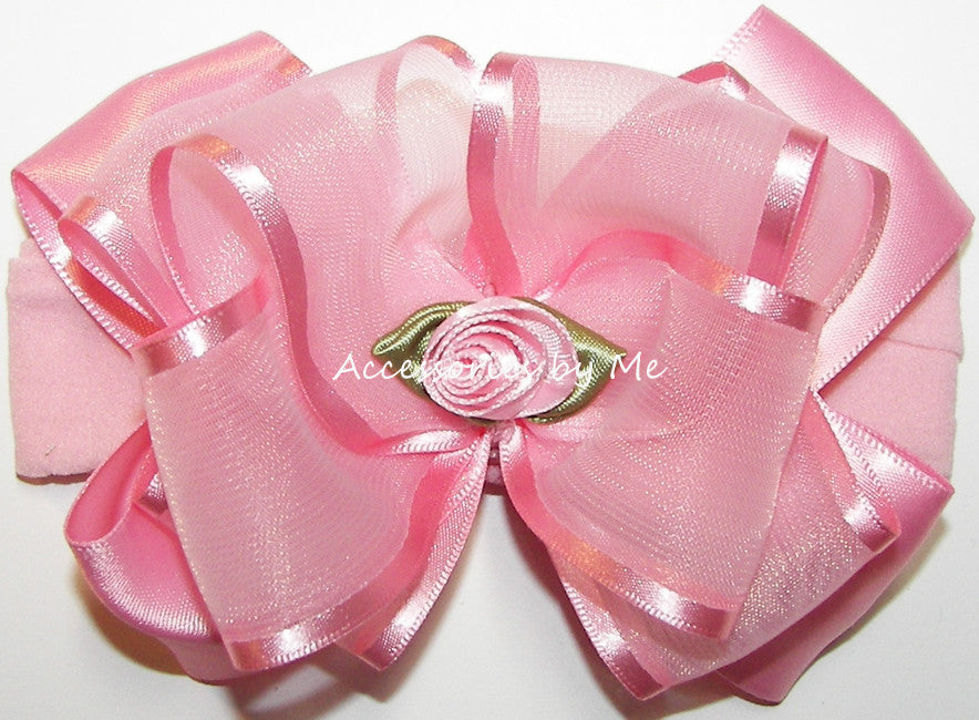 Frilly Light Pink Organza Floral Nylon Headband - Accessories by Me
