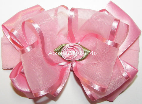 Light Pink Organza Floral Headband