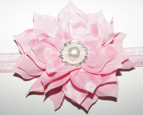 Glitzy Pink Flower Headband